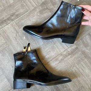 Zara Black Leather Zip up Flat Ankle boots